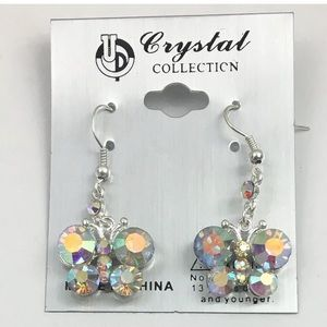 Aurora Borealis AB Tone Butterfly Dangle Earrings